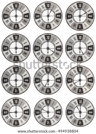 A photographed collection of 12 hours on a clock face  isolated on a white background