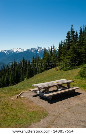 A picnic table at Hurricane Ridge in Olympic National Park - stock photo