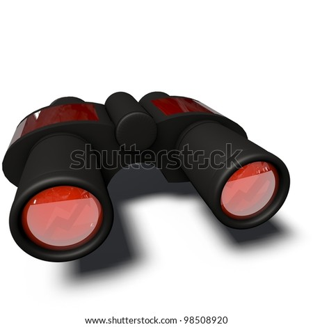 a pictogram of binoculars to symbolize media planning - stock photo