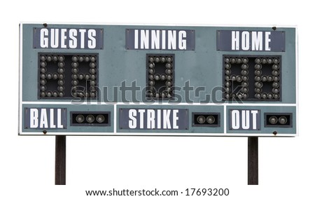 a picture of a baseball scoreboard on a white background - stock photo