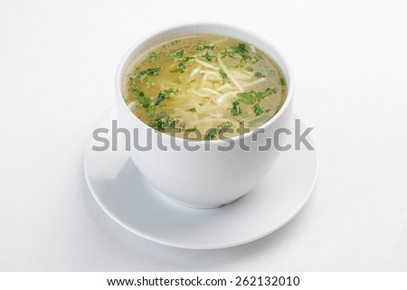 A picture of a bowl of traditional chicken soup   - stock photo