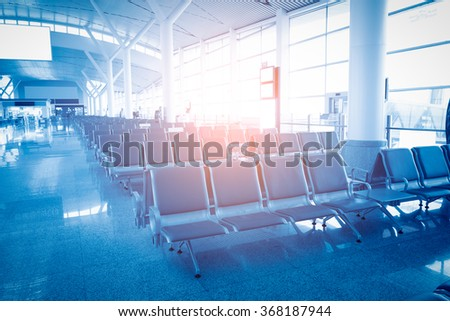 A picture of a brand new departure lounge at the airport - stock photo