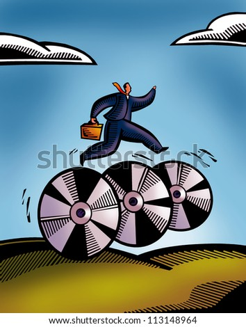 A picture of a business man rushing on CD wheels - stock photo