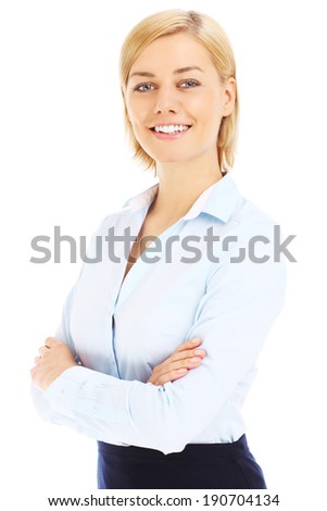 A picture of a confident businesswoman over white background