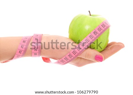 A picture of a female hand showing a green apple and a measure tape over white background