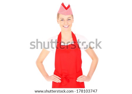 A picture of a happy waitress posing over white background