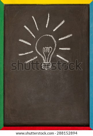 a picture of a lightbulb drawn on a chalkboard with a multi coloured wooden frame - stock photo
