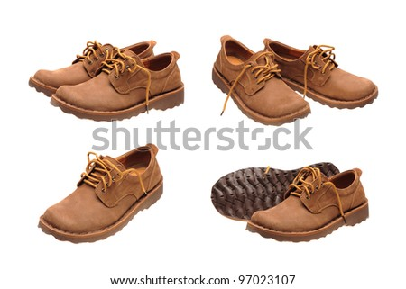 A picture of a pair of male shoes over white background - stock photo