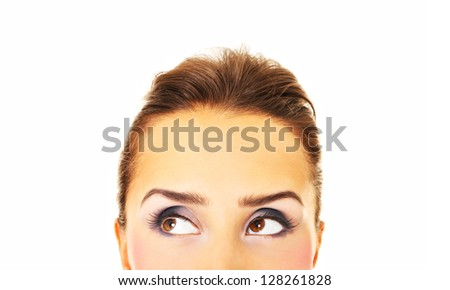 A picture of a pretty woman looking over white background