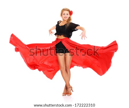 A picture of a sexy woman dancing flamenco over white background