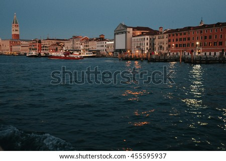 A picture of a stunning old Venice in the evening lights