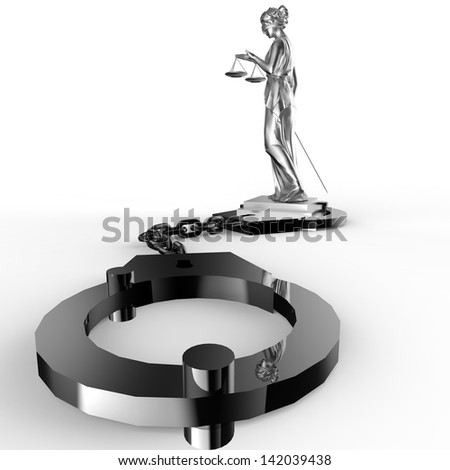 A picture of a Themis statue and handcuffs over white background