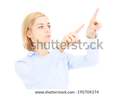 A picture of a young businesswoman pressing buttons over white background