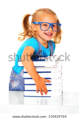 A picture of a young cheerful girl and a pile of books against white background - stock photo