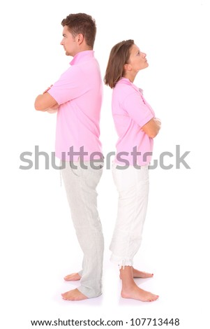 A picture of a young couple arguing over white background - stock photo