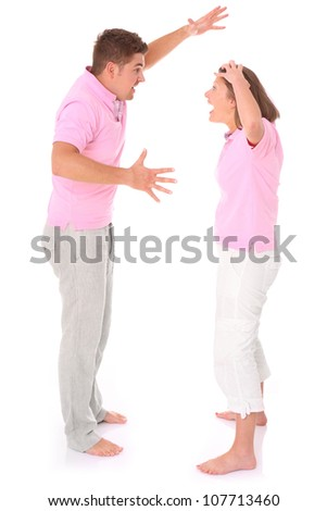 A picture of a young couple arguing over white background
