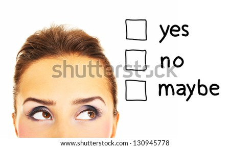 A picture of a young happy woman with a question mark over white background - stock photo