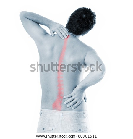 A picture of a young man with a backache suffering over white background - stock photo