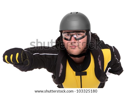 A picture of a young parachutist flying over white background