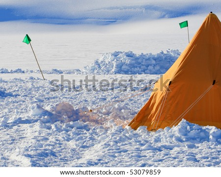 A picture of Antarctic field camp - stock photo