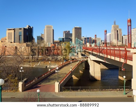 A picture of bridges leading into the St. Paul Minnesota skyline - stock photo