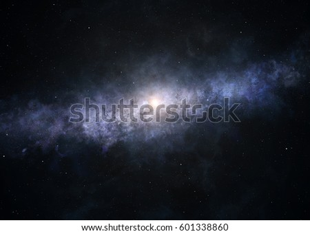A picture of bright spiral galaxy as seen from the edge