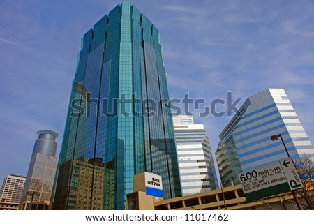 a picture of downtown urban life in Minneapolis - stock photo