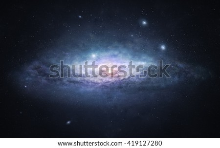 A picture of enormous galaxy with bright spiral core surrounded by countless stars - stock photo