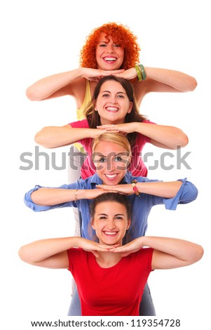 A picture of four friends standing one over another and smiling against white background