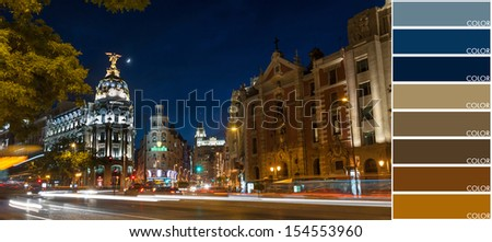 A picture of Madrid center, color coded - stock photo