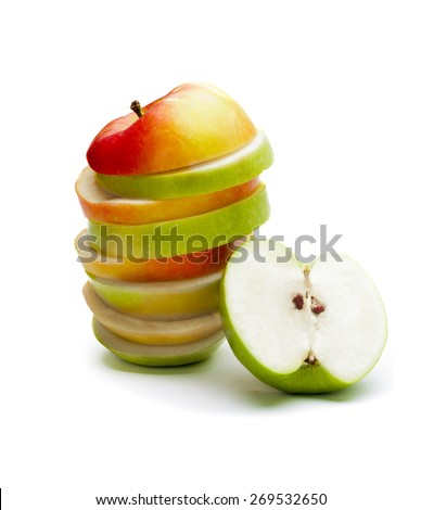 A picture of mixed apples and green apple - stock photo