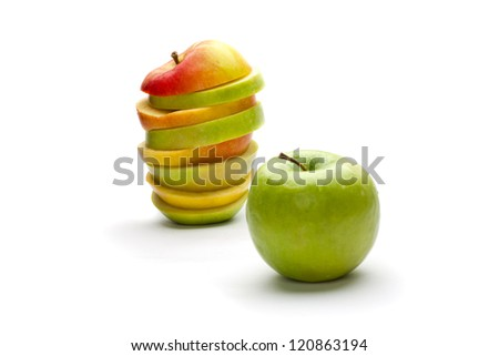 A picture of mixed apples and green apple (focus on mixed apple)