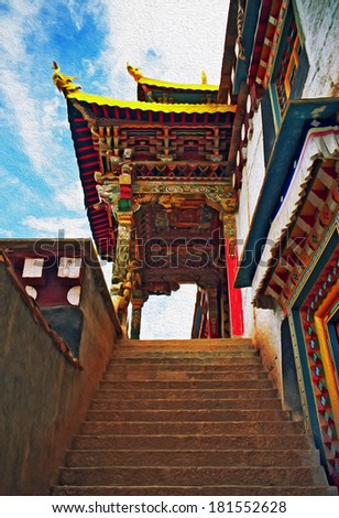 A picture of ornamental wooden, beautifully painted gate to a Tibetan buddhist monastery in Xiancheng, China, stylized and filtered to look like an oil painting  - stock photo