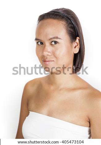 a picture of portrait tan skin Asian girl.
