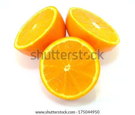 a picture of sliced and arranged oranges - stock photo