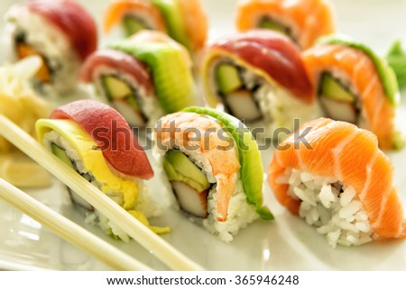 a picture of sushi meal on a plate