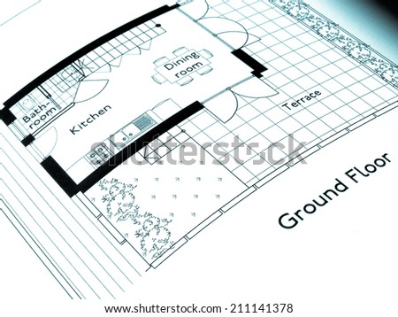 A picture of Technical architectural CAD drawing - cool cyanotype - stock photo
