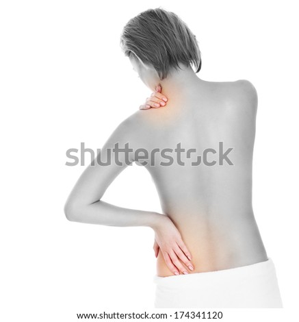 A picture of the back of a woman having neck problems