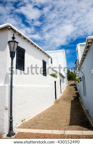 A picturesque street scene in St Georges in Bermuda - stock photo