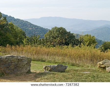 A picturesque view from Skyline Drive at Shenandoah National Park in West Virginia. - stock photo