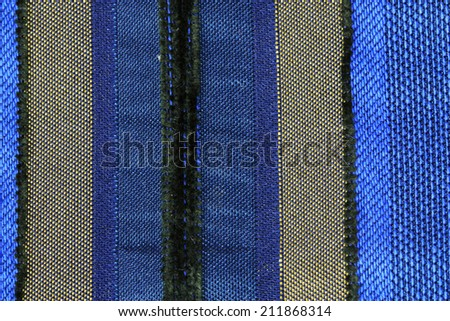 a piece of blue colored striped woven fabric   - stock photo