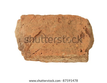 a piece of brick on a white background