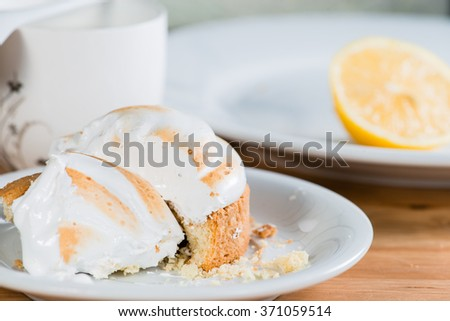 a piece of cake with a lemon (shallow DOF) - stock photo