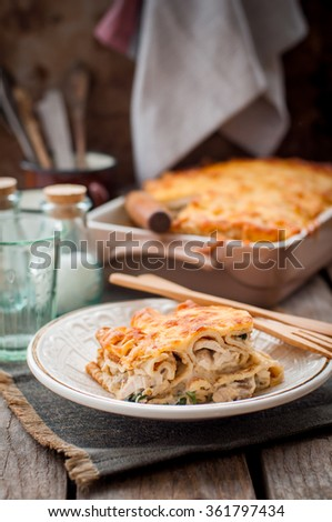 A Piece of Cheese Crusted Crepe Bake, copy space for your text - stock photo