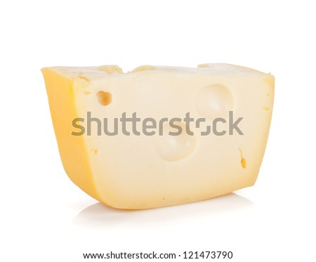 A piece of cheese. Isolated on white background