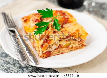 A Piece of Chicken and Pumpkin Lasagna - stock photo