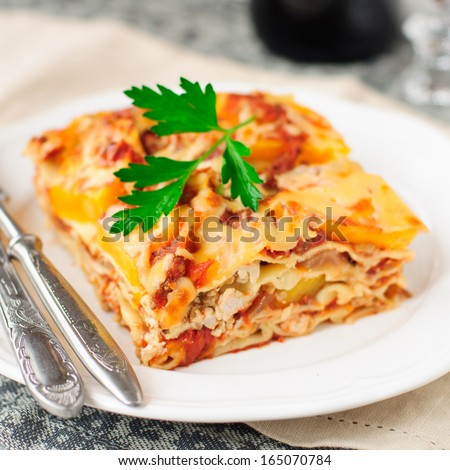 A Piece of Chicken and Pumpkin Lasagna, close up, square - stock photo
