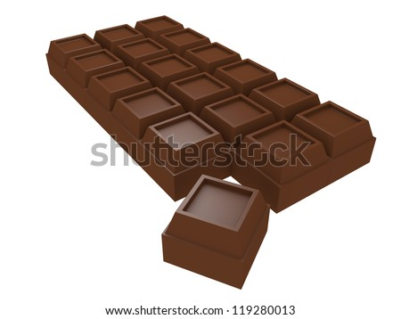 A piece of chocolate is separated from the tablet