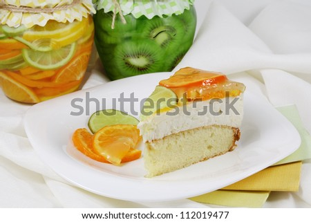 A piece of citrus cream cake.