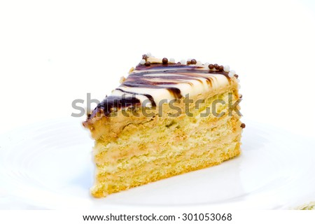 A piece of delicious cafe latte cake - stock photo